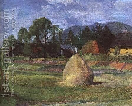Landscape at Nagybanya c 1930 by Hugo Scheiber - Reproduction Oil Painting