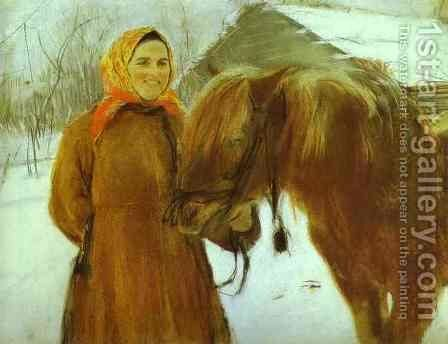 In A Village Peasant Woman With A Horse 1898 by Valentin Aleksandrovich Serov - Reproduction Oil Painting