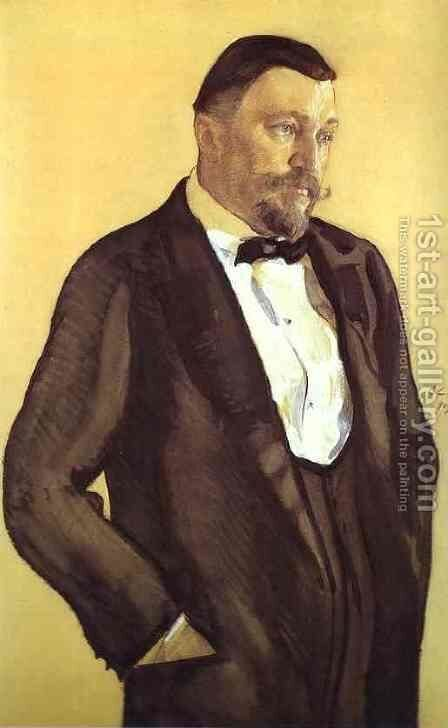 Portrait Of Alexei Morozov 1909 by Valentin Aleksandrovich Serov - Reproduction Oil Painting