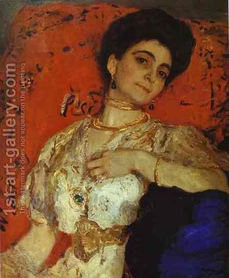 Portrait Of Maria Akimova 1908 by Valentin Aleksandrovich Serov - Reproduction Oil Painting