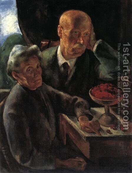 Elderly Couple (The Artist's parents) 1920 by Istvan Desi-Huber - Reproduction Oil Painting