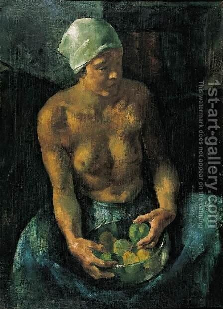 Girl with Apples (Half Nude with a Bowl of Fruits) 1921 by Istvan Desi-Huber - Reproduction Oil Painting