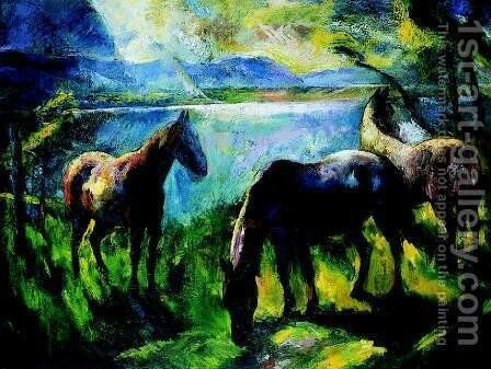 Horses in the Yard 1926 by Istvan Desi-Huber - Reproduction Oil Painting