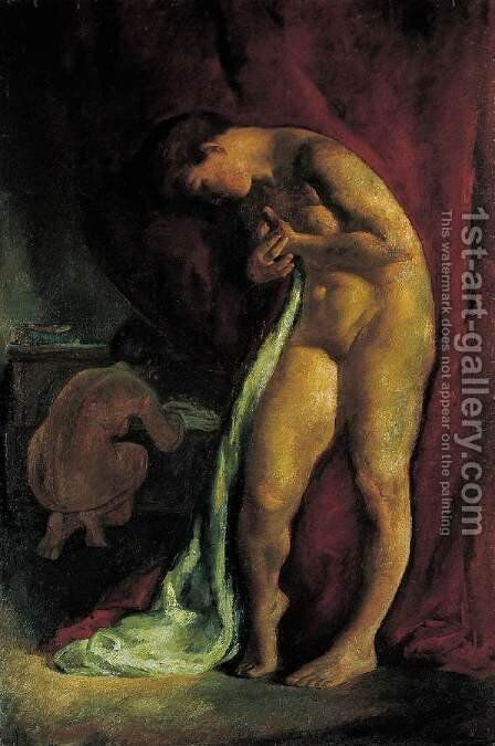 Nude in Front of a Red Drapery (After Bath) c 1919 by Istvan Desi-Huber - Reproduction Oil Painting