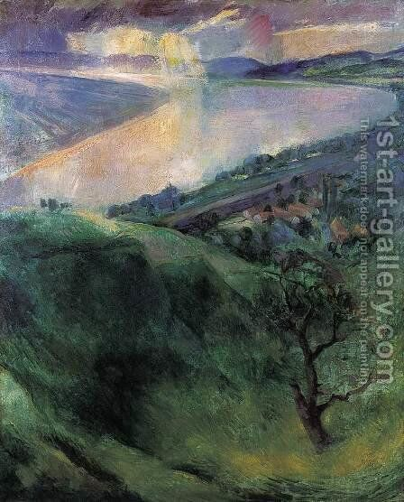 The Danube Bend at Zebegeny 1927 by Istvan Desi-Huber - Reproduction Oil Painting