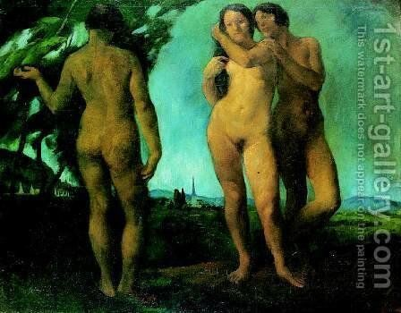 The Three Graces (Nudes in the Open) 1921 by Istvan Desi-Huber - Reproduction Oil Painting