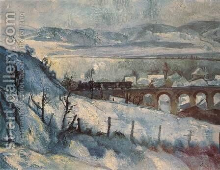 Viaduct (Winter Landscape with Railway) 1927 by Istvan Desi-Huber - Reproduction Oil Painting