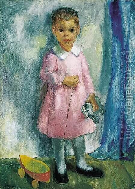 Zsuzsa with the Wooden Horse 1927 by Istvan Desi-Huber - Reproduction Oil Painting