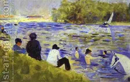 Bathers (Study For Bathers At Asnieres) 1883-84 by Georges Seurat - Reproduction Oil Painting