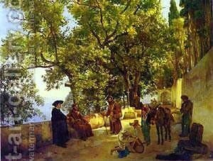 A Terrace On A Seashore A Small Town Of Capuccini Near Sorrento 1827 by Silvestr Fedosievich Shchedrin - Reproduction Oil Painting