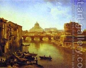 New Rome The Castle Of The Holy Angel 1823 by Silvestr Fedosievich Shchedrin - Reproduction Oil Painting