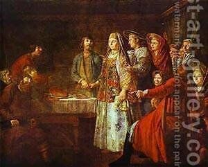 Signing of Marriage Contract 1777 by Mikhail Shibanov - Reproduction Oil Painting