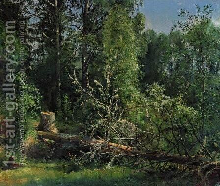 Fallen Tree 1875 by Ivan Shishkin - Reproduction Oil Painting