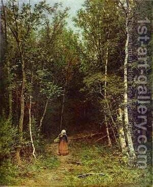 Landscape With A Woman 1872 by Ivan Shishkin - Reproduction Oil Painting