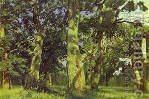 Oaks Evening Study 1887 by Ivan Shishkin - Reproduction Oil Painting