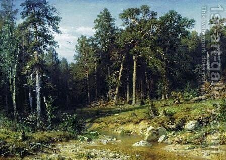 Pine Forest In Viatka Province 1872 by Ivan Shishkin - Reproduction Oil Painting
