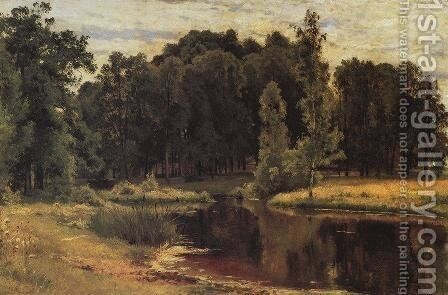 Pond In A Old Park Study 1898 by Ivan Shishkin - Reproduction Oil Painting