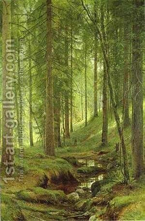 Stream By A Forest Slope 1880 by Ivan Shishkin - Reproduction Oil Painting