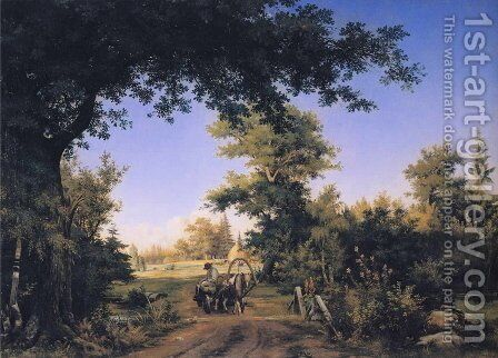 View In The Vicinity Of St Petersburg 1856 by Ivan Shishkin - Reproduction Oil Painting