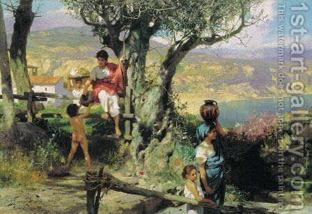 Ancient Rome In A Village 1880s by Henryk Hector Siemiradzki - Reproduction Oil Painting