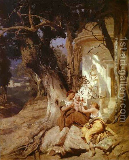 By A Temple (Idyll) 1881 by Henryk Hector Siemiradzki - Reproduction Oil Painting