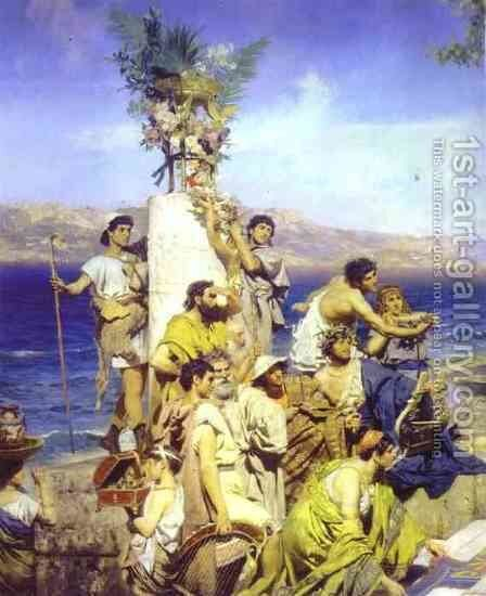 Phryne At The Festival Of Poseidon In Eleusin Detail 2 1889 by Henryk Hector Siemiradzki - Reproduction Oil Painting