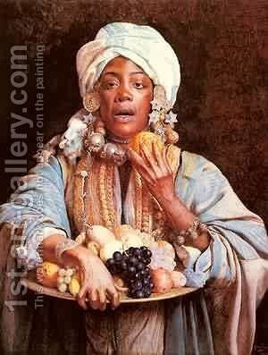 A North African Fruit Vendor by Giuseppe Signorini - Reproduction Oil Painting