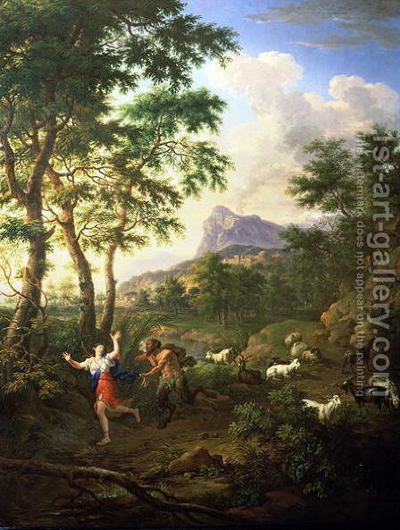An Arcadian Landscape with Pan and Syrinx by Jacob De Heusch - Reproduction Oil Painting