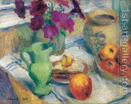 Still life with Tablecloth 1934 by Dezso Kormiss - Reproduction Oil Painting