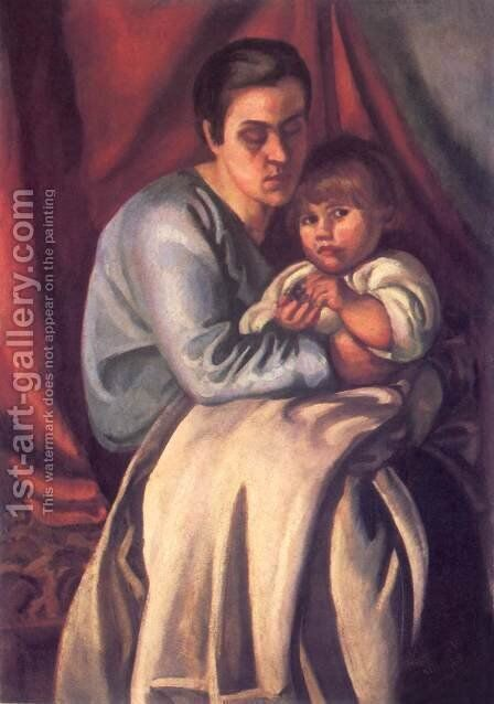 Mother and Child 1918 by Bela Kondor - Reproduction Oil Painting