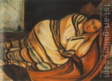 Reclining Woman 1919 by Bela Kondor - Reproduction Oil Painting