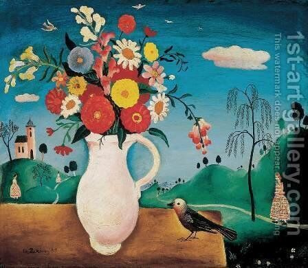Still life with Bird 1930 by Imre Szobotka - Reproduction Oil Painting
