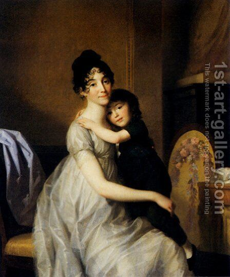 Anne Pauline Dufour Ferance And her Son Jean Marc Albert 1802 by Johann Heinrich The Elder Tischbein - Reproduction Oil Painting