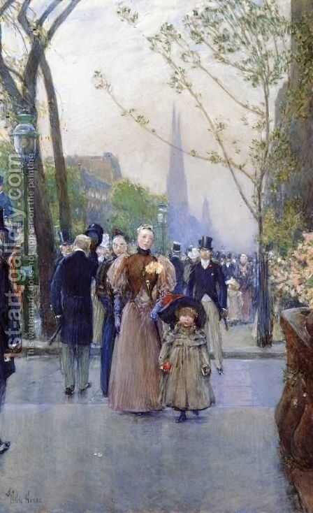 Fifth Avenue (also known as Sunday on Fifth Avenue) by Frederick Childe Hassam - Reproduction Oil Painting