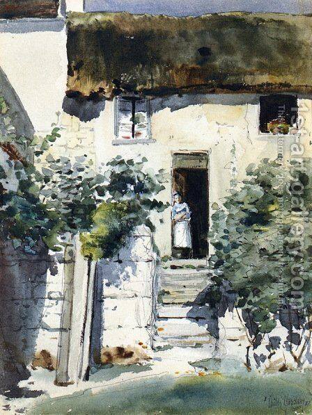 Girl in a Doorway by Frederick Childe Hassam - Reproduction Oil Painting