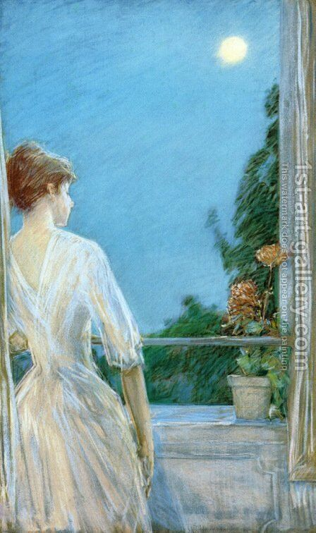 On the Balcony by Frederick Childe Hassam - Reproduction Oil Painting