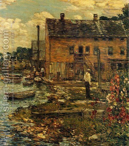 The Fishermen, Cos Cob by Frederick Childe Hassam - Reproduction Oil Painting
