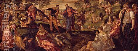 The Miracle of the Loaves and Fishes ca 1545 by Domenico Tintoretto (Robusti) - Reproduction Oil Painting