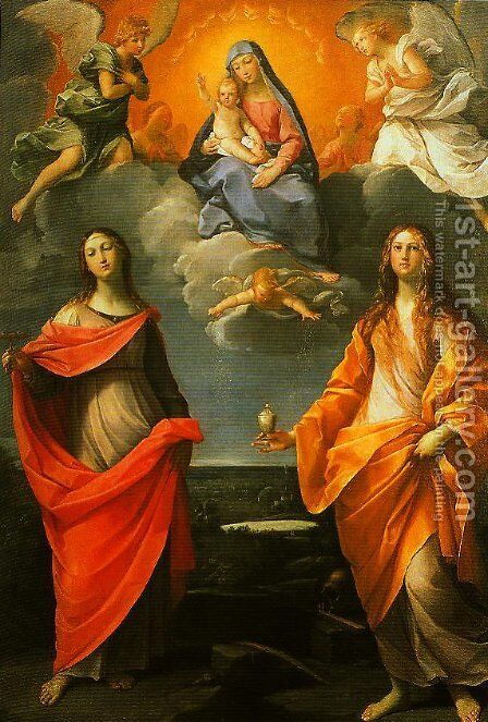 Madonna of the Snow with SS Lucy and Mary Magdalen by Guido Reni - Reproduction Oil Painting