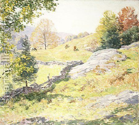 Hillside Pastures  September 1922 by Willard Leroy Metcalf - Reproduction Oil Painting