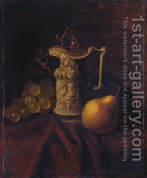Still Life with Ewer and Fruit by Carducius Plantagenet Ream - Reproduction Oil Painting