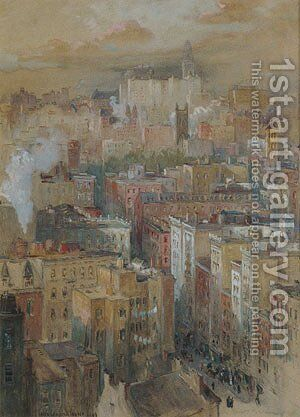 View of New York City by Colin Campbell Cooper - Reproduction Oil Painting