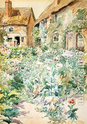Cottage Garden Warwick England by Edmund Henry Garrett - Reproduction Oil Painting