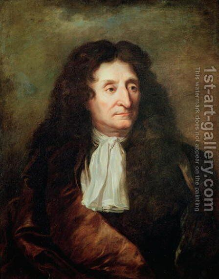 Jean de la Fontaine by Hyacinthe Rigaud - Reproduction Oil Painting