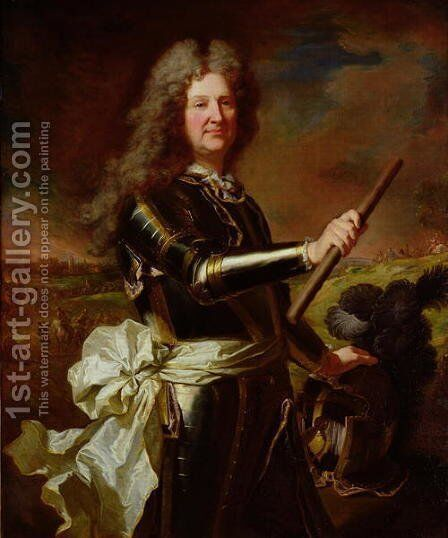 Portrait of Charles Auguste de Matignon Comte de Gace Marechal de France by Hyacinthe Rigaud - Reproduction Oil Painting