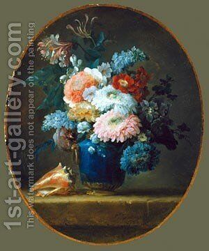 Vase of Flowers 1780 by Anne Vallayer-Coster - Reproduction Oil Painting