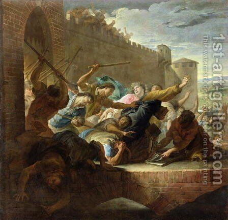Expulsion of the Huguenots of Toulouse after the Capture of the Town by the Prince of Conde's Supporters in 1562 1727 by Andras Mikola - Reproduction Oil Painting