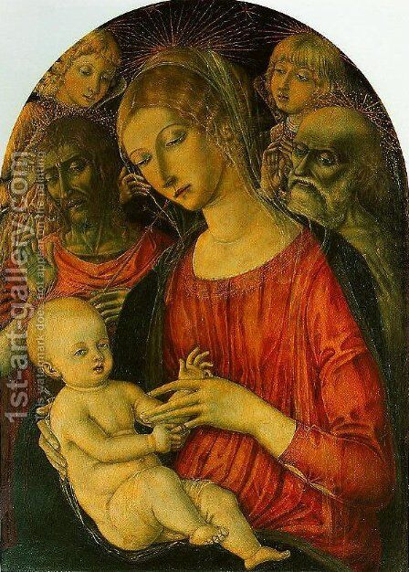 Madonna and Child with Angels and Saints by Matteo Di Giovanni - Reproduction Oil Painting
