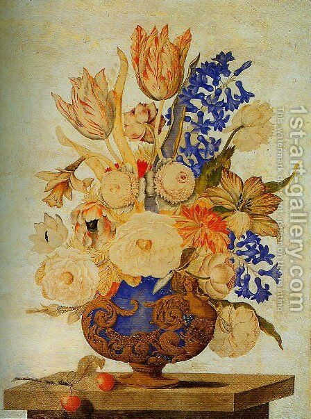 Gilded and Embossed Vase Filled with Snowballs Roses and Tulips by Andrea Scacciati - Reproduction Oil Painting