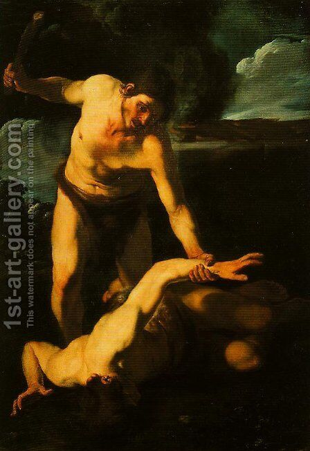 Cain and Abel by Bartolomeo Manfredi - Reproduction Oil Painting